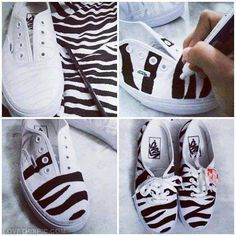 DIY Zebra Sneakers sneakers diy diy ideas do it yourself easy diy zebra print diy clothes craft clothes craft shoes craft fashion diy gashion