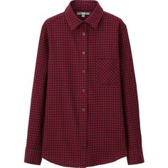 UNIQLO Women Flannel Checkered Long Sleeve Shirt (€26) ❤ liked on Polyvore featuring tops, layering shirts, red top, flannel shirts, red checkered shirt and layered tops