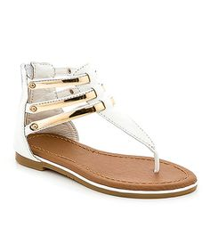 Look at this White Triple-Bar T-Strap Sandal on #zulily today!