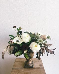 Rehearsal dinner florals for tonight...loving that this bride let me go a little darker than normal - navy vibernum berry, chocolate cosmos, cotinus leaf, nine bark, diamond grass, purple hellebore, millet, thistle with pops of white ranunculus, anemones and pom dahlias - such a moody interpretation of fall and I love it :) cc: @bobgailevents
