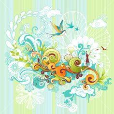 Funky spring design with swirls, flowers, birds and happy girl. Graphic Eyes, Swirl Design, World Of Color, Free Vector Art, Graphic Design Inspiration, Swirls, Arts And Crafts, Artsy, Wallpaper