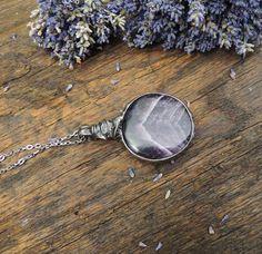 pendant necklace natural amethyst stone pedant locket by MARIAELA, $43.00