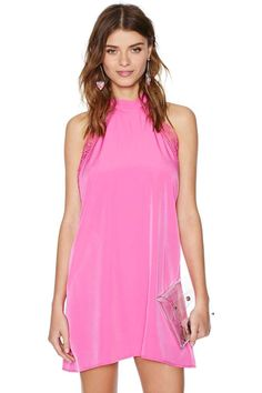 Finish out those last summer nights in this candy pink sleeveless dress available on  nasty gal.com. Pink It Through Dress #nastygal #dresses