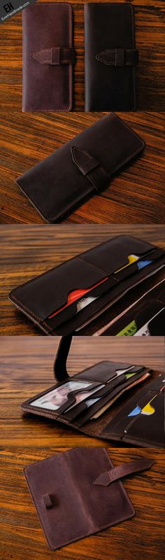 Handmade vintage purse leather wallet long phone wallet clutch wallet coffee