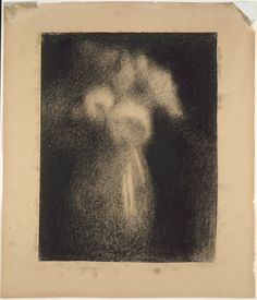 Georges Seurat French, 1859-1891 Roses in a Vase, 1881/83 Black Conté crayon on ivory laid paper, discolored to tan, edge mounted on tan wove paper.