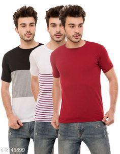 Tshirts Trendy Men's Cotton Blend Tshirts Combo Fabric: Cotton Blend Sleeves: Half Sleeves Are Included Size: S M L XL (Refer Size Chart)  Length: Refer Size Chart Fit: Regular Fit Type: Stitched Description: It Has 3 Pieces of Men's T-Shirts Pattern: Solid Country of Origin: India Sizes Available: S, M, L, XL   Catalog Rating: ★4 (500)  Catalog Name: Stylish Trendy Men's Cotton Blend Tshirts Combo Vol 9 CatalogID_284649 C70-SC1205 Code: 925-2145899-5631