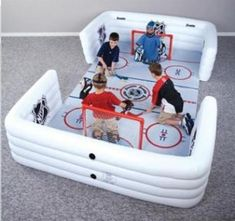 "Mini Sticks Hockey: Not every knee hockey ""rink"" has to be this elaborate. It could just be a carpeted basement floor, or for youth teams on a road trip, a hotel hallway. Either way, prepare for endless hours of fun and rug burns. Hockey Gifts, Hockey Mom, Hockey Teams, Hockey Stuff, Hockey Decor, Hockey Puck, Field Hockey, Hockey Players, Hockey Birthday"