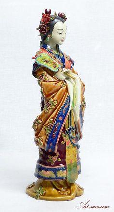 Oriental Lady Concubine Chinese Porcelain Doll Sculpture : Art-sam.com