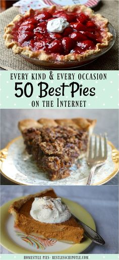 50+ of the best pie recipes ever! Everything from easy pies for beginners to fruit pies, cream pies, chocolate pies, holiday pies... you get the idea! You'll be inspired! From RestlessChipotle.com