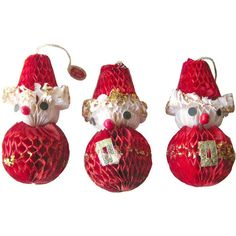 Honeycomb Christmas Santa Claus Ornaments Set of 3 ($18) ❤ liked on Polyvore featuring home, home decor, holiday decorations, christmas ornament sets, set of christmas ornaments, christmas holiday decorations, christmas home decor and christmas holiday decor