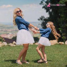 Set de fuste asortate tutu mama si fiica si camasi denim identice.