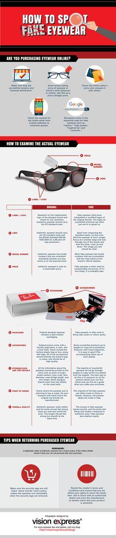 How to Spot Fake Eyewear #infographic #EyeWear #Fashion #Glasses #Lifestyle
