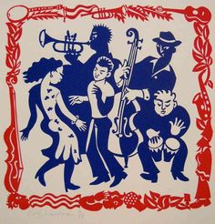 Music and dance - Linocut