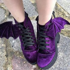 ☮ omg!! i have some blue velvet boots that are similar to this (minus the kickin' bat wings, of course), but they're heeled af, and i've postponed wearing them for months now bc i feel like i'm gonna break my lil neck lol. i must learn to be brave! (someone buy these for me) ☮