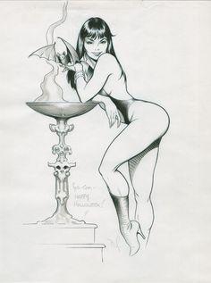 Vampirella , in Patrick Kochanek, MD's Dave Stevens Comic Art Gallery Room Fantasy Art Women, Dark Fantasy Art, Fantasy Girl, Ink Illustrations, Illustration Art, Vampire Illustration, Pulp Art, Pulp Fiction Art, Arte Ninja