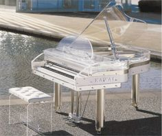 Clear piano that I WILL have in my formal, white living room