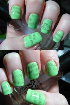 Newspaper Nails with color... cool idea