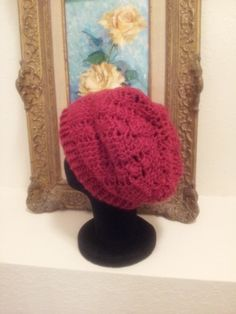 Crochet Slouchy Hat - Red - $18.00 #onselz