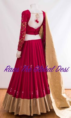 Chaniya choli 2018 Buy online beautiful designer collection -ghaghra choli navratri collection at best prices at RAAS THE GLOBAL DESI . Indian Gowns Dresses, Indian Fashion Dresses, Indian Bridal Outfits, Dress Indian Style, Indian Designer Outfits, Half Saree Designs, Choli Designs, Lehenga Designs, Choli Blouse Design