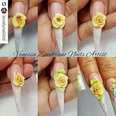 trendy fails art paso a paso rosas Bee Nails, Bling Nails, 3d Acrylic Nails, 3d Nail Art, White Nail Designs, Nail Art Designs, Easter Nail Art, 3d Rose, Super Nails