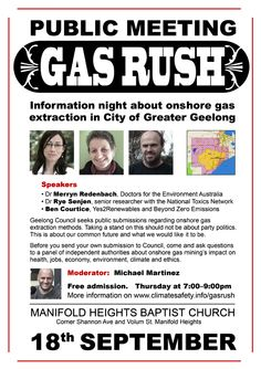 This page contains information about the public meeting in Geelong on 18 September 2014 and links to various gas fact sheets