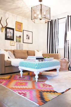The Anderson Ottoman by Katie Kime, available in any Katie Kime fabric or COM