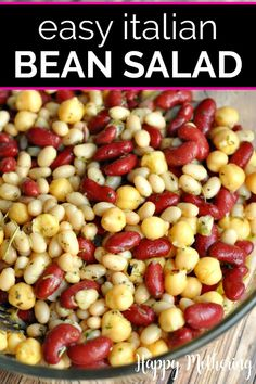 This healthy Three Bean Salad recipe uses canned beans marinated in homemade Italian dressing for a quick and easy side dish. This simple vegan cold salad is the best choice for summer picnics and potlucks. Kid friendly and gluten free. Bean Salad Recipes, Chicken Salad Recipes, Picnic Salad Recipes, Side Dishes Easy, Side Dish Recipes, Canned Beans Recipe, Noodle Salad, Rice Salad, Fruit Salad