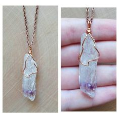 Wire Wrapped Amethyst Crystal Necklace