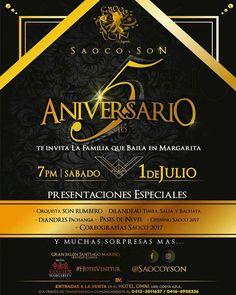 @Regrann from @saocoyson - La GRAN FAMILIA SAOCO & SON Te Invita a celebrar  _5to ANIVERSARIO_ PRÓXIMO SABADO  _#1deJULIO_  GRAN SALÓN SANTIAGO MARIÑO (Antiguo Casino) _#HotelVenetur_ HORA: 7PM  _Presentaciones Especiales_ - Orquesta SON RUMBERO - DjLANDEAU _Timba Salsa y Bachata_ - DjANDRES _Pachanga_ - _Pases de Nivel_ - _Opening Saoco 2017_ - _Coreografías Saoco 2017_ Y MUCHAS SORPRESAS MAS... _Con la presencia de Academias Nacionales:_ - AYA SalsaCasino - Expresión Rumbera - Academia Olu…