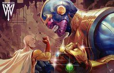 Saitama VS Thanos (By Wizyakuza) & Manga One Punch Man Anime, Saitama One Punch Man, Anime One, Manga Anime, Anime Crossover, Fanart, Cartoon Crossovers, Animes Wallpapers, Anime Comics