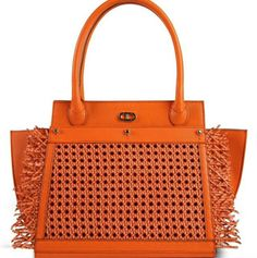 The Large Park Avenue. Orange PVC and pebbled leather body. Rattan and Caning cover. #DeeOcleppo #DeeOcleppoBags #DOH #PebbledLeather #PVC #Handbag #TheParkAvenue #VersatileLuxury #Rattan #Caning #Pegs