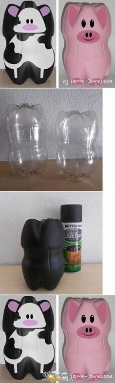 硬饮料瓶底做玩偶,很好玩~——更多有趣内容,请关注美好创意DIY (http://t.cn/zOR4l2D)