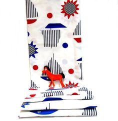 Vintage Print Fabric Sailboat Red White Blue Cotton by CoconutRoad, $20.00