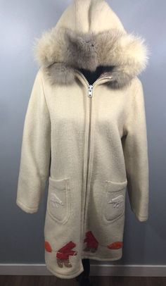 The parka is in overall very good used condition for the age. Hudson Bay, Polar Bear, Online Price, Parka, Size 16, Overalls, Fur Coat, Wool, Cream