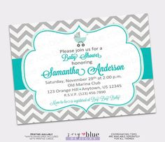Turquoise Aqua Grey Chevron Baby Shower Invitation -Chevron Zig Zag Stripe Coral Gray Digital File  PLEASE READ THE FOLLOWING INFORMATION!  Read my shop POLICIES and FREQUENTLY ASKED QUESTIONS here: https://www.etsy.com/shop/ZoeyBlueDesigns/policy  This listing is either for a digital file which YOU are responsible for printing. OR Professionally Printed Invitations with White Envelopes shipped to your mailing address.   ••••••••••••••••••HOW TO ORDER•••••••••••••••••• >>>(1) Select the…