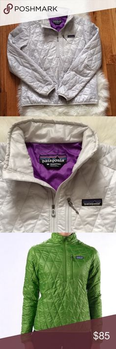 Patagonia Nano Puff pUllover Ladies Patagonia Nano Pullover in silver. Size medium and true to size! This top is extremely warm, but lightweight making it the perfect layer! Only worn a couple times so like new condition! Bundle with another item to save on shipping💕 Patagonia Jackets & Coats Puffers