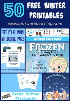 Over 50 Free Winter Printables for Kids! - 50 Free Winter Printables for Kids of All Ages! Perfect for homeschoolers, after-schoolers, and eve - Educational Activities, Learning Activities, Frozen Activities, Winter Fun, Winter Theme, Frugal, Winter Activities For Kids, Fun Learning, Early Learning