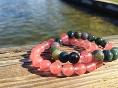 A personal favorite from my Etsy shop https://www.etsy.com/listing/229343927/natural-jade-and-cherry-quartz-bracelets