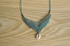 Handmade turquoise macrame necklace by MichalGeist on Etsy