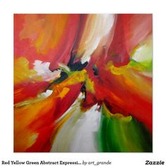 Red Yellow Green Abstract Expressionism Painting Poster