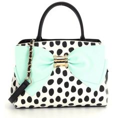 Betsey Johnson Ready, Set, Bow Dotted Satchel ❤ liked on Polyvore featuring bags, handbags, white purse, betsey johnson bags, polka dot satchel, satchel style handbags and betsey johnson purses