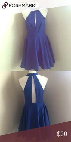 Royal blue Dress NWT, royal blue dress. Has front and back cut outs with a high neck Lulu's Dresses Mini