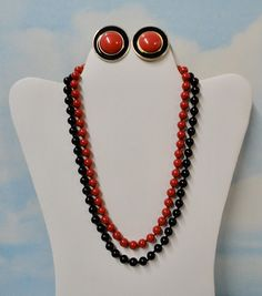 Black and Red  Knotted Lucite Beads Necklaces and Clip on Earrings Mix Lot. Trifari and Napier.