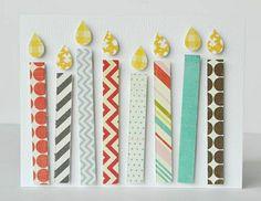 carte anniversaire avec bougies décoratifs, décorer la carte d'anniversaire blanche avec bougies décoratifs