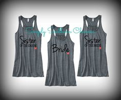 Sister of the Bride/Groom Racerback Tank Top, Bridesmaid Shirts, Bachelorette Party Tank Tops, Maid of Honor Shirt, Bride Tank Top on Etsy, $84.00