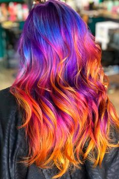 Sunset Ombre Long Hairstyle Purple ombre hair is literally everywhere for its endless variety of shades. You can mix it with blue a. Vivid Hair Color, Pretty Hair Color, Bright Hair Colors, Hair Dye Colors, Ombre Hair Color, Hair Color For Black Hair, Pastel Ombre Hair, Bright Colored Hair, Blue And Pink Hair