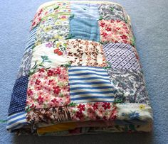 Vintage Hand Tied Quilt 1940s Patchwork Quilt by TheSewingGin, $84.50