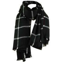 Black ONE SIZE Vintage Checked Pattern Faux Wool Fringed Long Scarf ($9.32) ❤ liked on Polyvore featuring accessories, scarves, vintage scarves, fringe shawl, wool shawl, faux shawl and long shawl