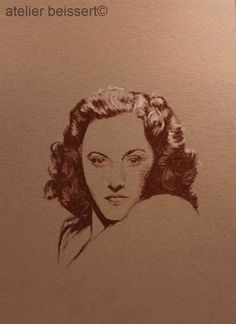 Barbara Stanwyck, Acryl, Kreide auf Karton, Figur 200x170mm, gesamtes Blatt 380x280mm, 2014, Leipzig