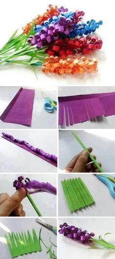 Beautiful Paper Flowers: Hyacinths – DIY – Susan Baker – - New Deko Sites Paper Flowers Craft, Flower Crafts, Diy Flowers, How To Make Paper Flowers, Flower Paper, Diy Crafts For Kids, Easy Crafts, Diy Beauty Crafts, Diy Niños Manualidades